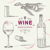 Hand Drawn Wine Design Elements Stock Photography