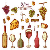 Hand drawn wine elements. Set of vector icons: bottle, cheese, grapes, wineglass and etc.  stock illustration