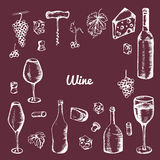 Hand drawn wine elements. Set of vector icons: bottle, cheese, grapes, wineglass and etc Stock Photography