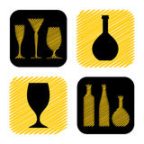 Hand drawn wine glass and bottle icon collection Royalty Free Stock Image