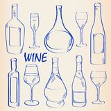 Hand Drawn Wine Icon Set Royalty Free Stock Photography