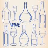 Hand Drawn Wine Icon Set royalty free illustration