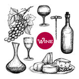 Hand Drawn Wine Set Stock Image