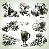 Hand drawn wine set Royalty Free Stock Photo