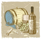 Hand drawn wine Stock Photography