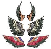 Hand drawn wing vector set.colorful Sticker wing tattoo. Stock Photo