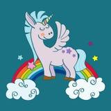 Hand drawn winged unicorn on rainbow Royalty Free Stock Photo