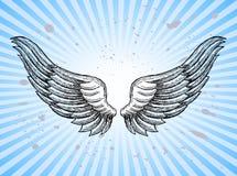 Hand Drawn Wings. With splashes and sunburst background royalty free illustration
