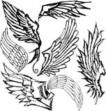 Hand-drawn wings. Hand-drawn grungy wings. Set of 7 variations Stock Photos