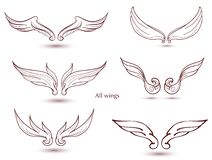 Hand drawn wings set. Vector doodle winged for decorate. Cut out royalty free illustration