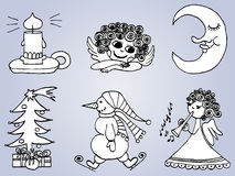 Hand drawn Winter Christmas set Stock Photo
