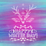 Hand drawn winter greeting card Royalty Free Stock Photos