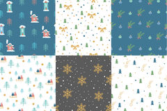 Hand drawn winter holidays seamless patterns Royalty Free Stock Images