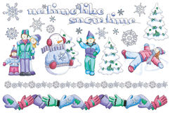Hand-Drawn Winter Illustrations Royalty Free Stock Images