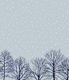 Hand drawn winter landscape. Vector card with hand drawn winter trees under the snowfall at twilight. Beautiful ink drawing Royalty Free Stock Photo