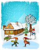 Hand Drawn Winter Scenery Stock Photo