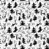 Hand drawn winter seamless pattern with deer and pine trees in d Royalty Free Stock Photography