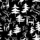 Hand drawn winter seamless pattern with deer and pine trees in d Royalty Free Stock Images