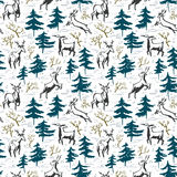 Hand drawn winter seamless pattern with deer and pine trees in d Stock Images