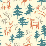 Hand drawn winter seamless pattern with deer and pine trees in d Stock Image