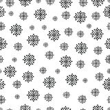 Hand drawn winter seamless patterns with snowflakes. Hand drawn winter seamless patterns. Christmas, New Year backdrop. Decorative background with snowflakes for vector illustration