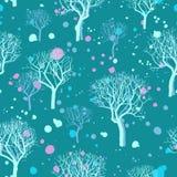 Hand drawn winter trees seamless pattern Royalty Free Stock Photos