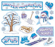 Hand-Drawn Winter Wonderland Illustrations Stock Image