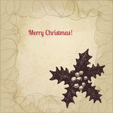 Hand drawn winterberry Christmas card Royalty Free Stock Images