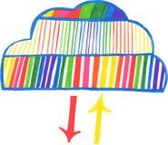 Hand-drawn wolk gegevensverwerkingspictogram Royalty-vrije Stock Afbeeldingen