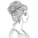 Hand drawn a woman with beautiful hair for design element and coloring book page. Vector illustration stock illustration