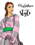 Hand drawn woman in coat. Fashion model. Vector Stock Image