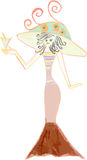 Hand drawn woman with drink Stock Photography