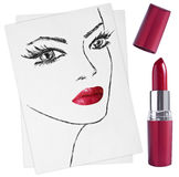 Hand-drawn woman face and lipstick Stock Photography