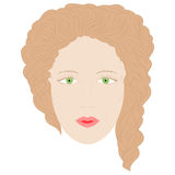 Hand Drawn Woman in Full Face with Green Eyes and Brown Curly Hairs. Royalty Free Stock Image