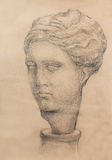 Hand drawn woman  head, Gypsum bust drawn. Rome Empire woman. Hand drawn woman  head, Gypsum bust drawn. Rome Empire woman Stock Photo