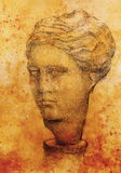 Hand drawn woman  head, Gypsum bust drawn. Rome Empire woman. Stock Photos
