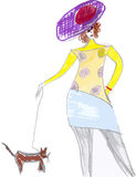 Hand drawn woman with little dog Royalty Free Stock Images