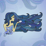 Hand-drawn woman with long blue hair like sea Royalty Free Stock Photography