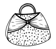 Hand drawn of woman`s handbag. Doodle, ornate, ornament style, vector illustration Stock Photo