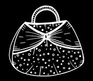 Hand drawn of woman`s handbag. Doodle, ornate, ornament style, vector illustration Royalty Free Stock Images