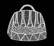Hand drawn of woman`s handbag. Doodle, ornate, ornament style, vector illustration Stock Images