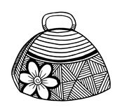 Hand drawn of woman`s handbag. Doodle, ornate, ornament style, vector illustration Stock Photography