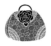 Hand drawn of woman`s handbag. Doodle, ornate, ornament style, vector illustration Stock Photos