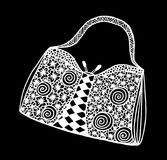 Hand drawn of woman`s handbag. Doodle, ornate, ornament style, vector illustration Stock Image