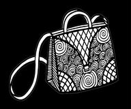 Hand drawn of woman`s handbag. Doodle, ornate, ornament style, vector illustration Royalty Free Stock Photos