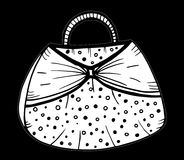 Hand drawn of woman`s handbag. Doodle, ornate, ornament style, vector illustration Royalty Free Stock Photography