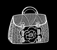 Hand drawn of woman`s handbag. Doodle, ornate, ornament style, vector illustration Royalty Free Stock Photo