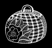 Hand drawn of woman`s handbag. Doodle, ornate, ornament style, vector illustration Royalty Free Stock Image
