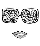 Hand drawn woman's sun glasses for coloring book Royalty Free Stock Images
