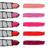 Hand drawn women lipstick chart palette. Shine and glossy lipstick. Fashion and beauty trend. Stock Images